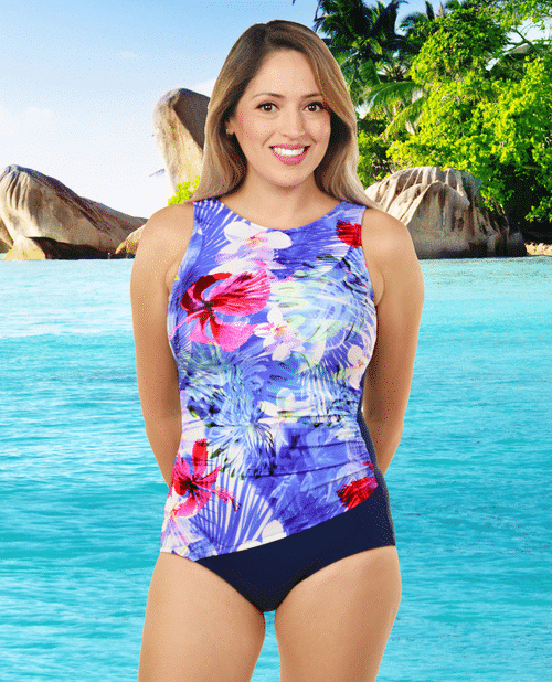 High Neck Drape Swimsuit